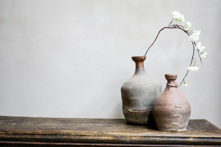 Wabi Sabi pottery with flower