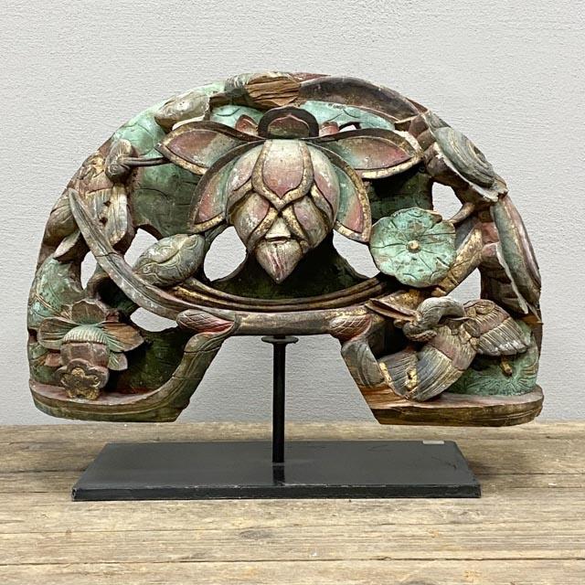 Wooden lotus ornament