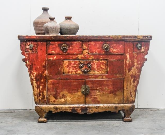 Weathered red Gansu cabinet
