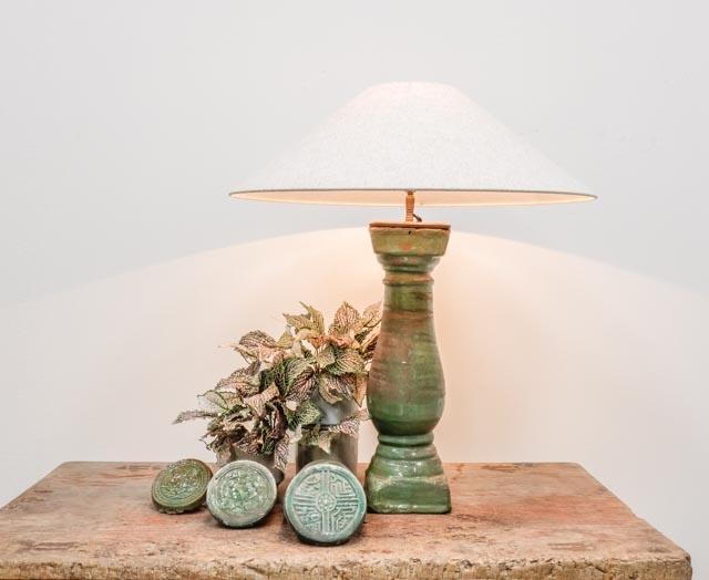 Green glazed ceramic table lamp