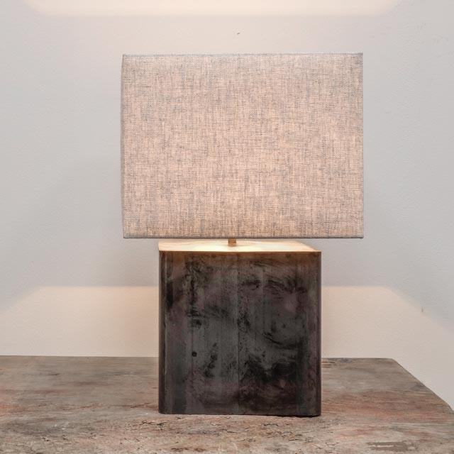 Contemporary steel cube lamp