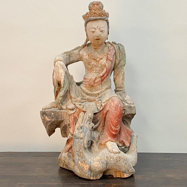 Wooden Guanyin sitting with Dragon