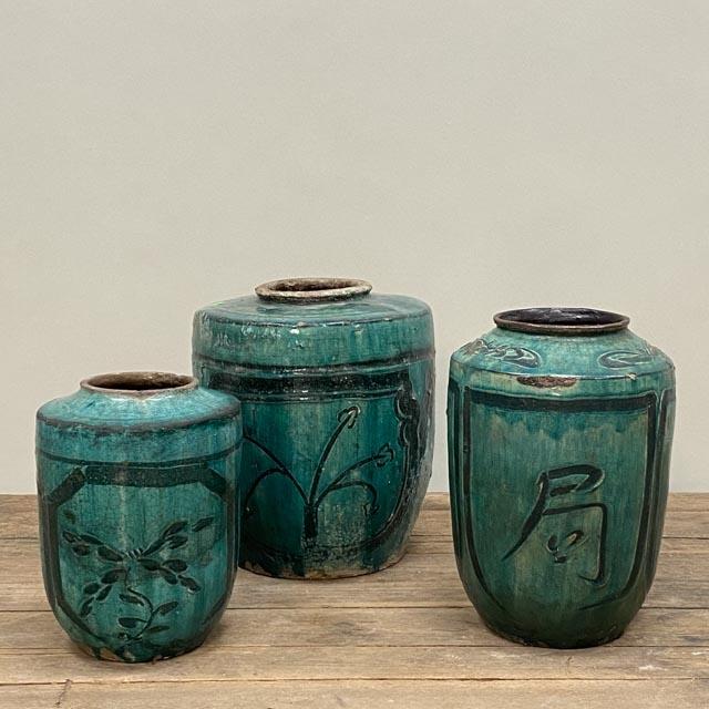 Antique turquoise glazed pot