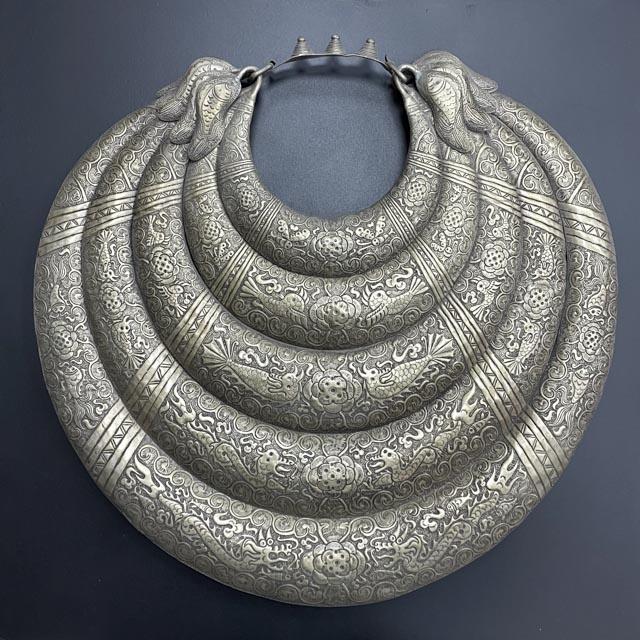 Silver Miao tribal decorative necklace