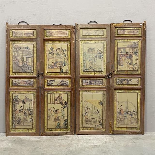 Set of 4 wooden window or cabinet doors