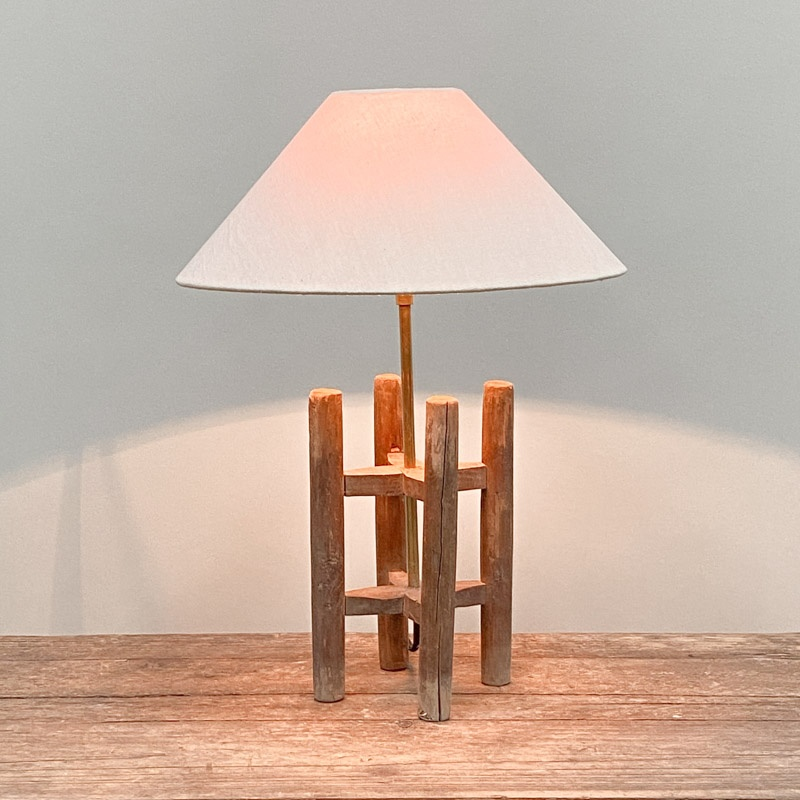 Large wooden bobbin table lamp