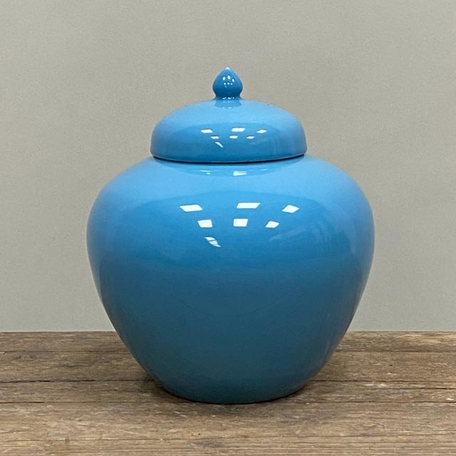 Bright blue glazed pots with cover