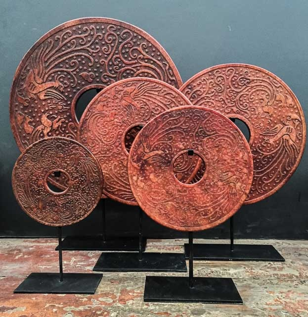 Round Bi-disc with carved Phoenix – 40cm