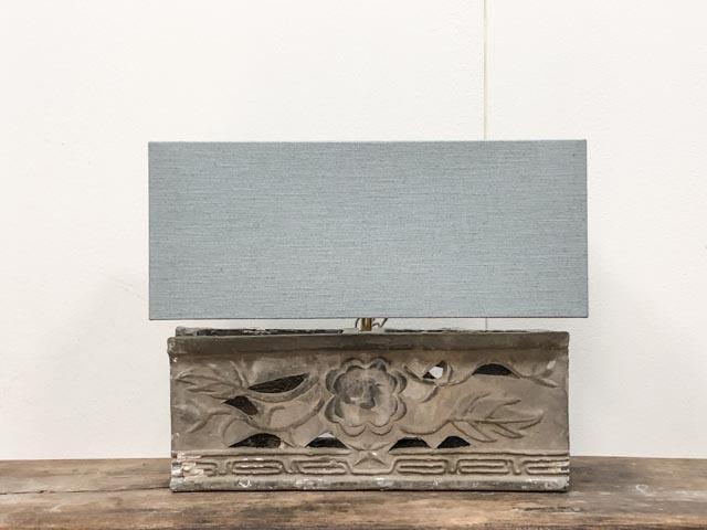 Long, antique architectural element table lamp