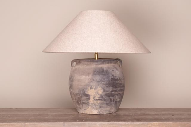 Small rustic grey pottery table lamp