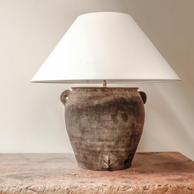 Rustic grey pottery lamp with three ears