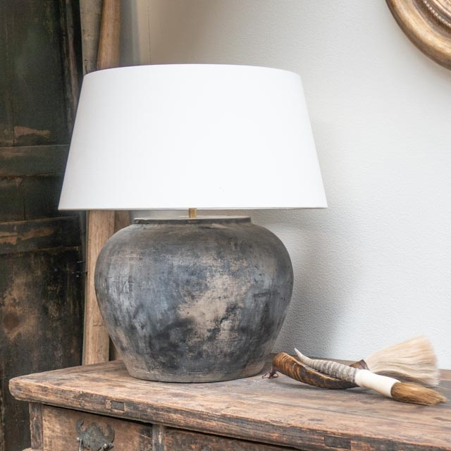 Large rustic grey pottery lamp