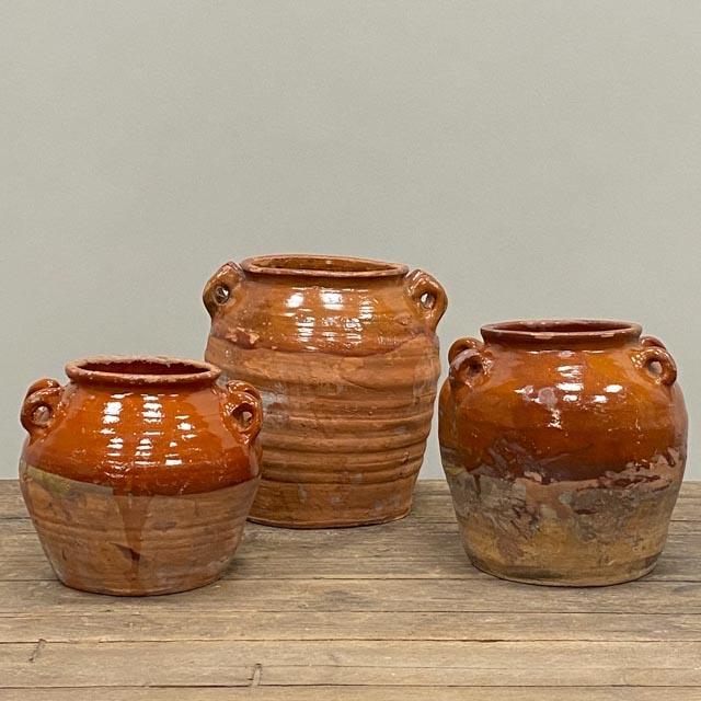 Small glazed terra cotta pots