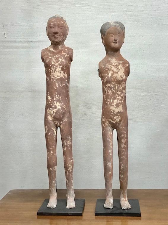 Pair of Dark Red Han dynasty Stick Men