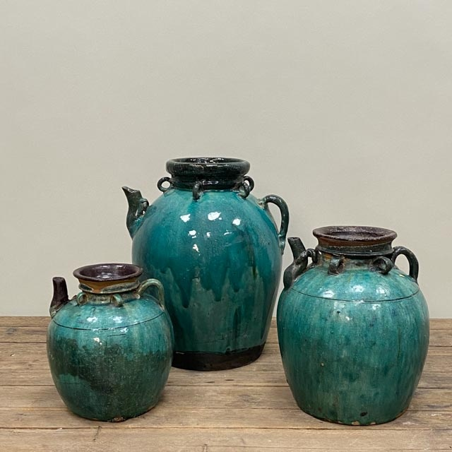 Large decorative turquoise wine jar