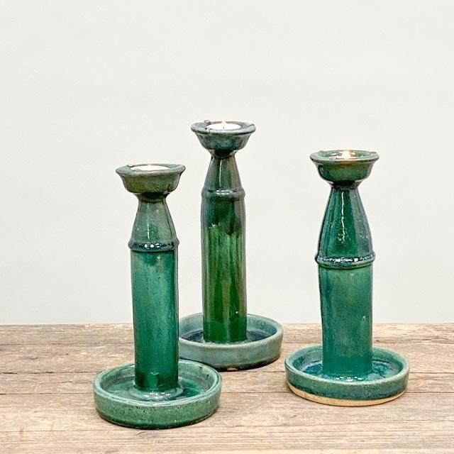 Large ceramic turquoise candleholder
