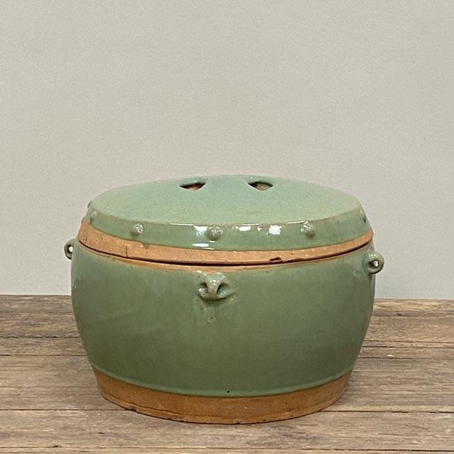 Medium sized celadon pot with lid