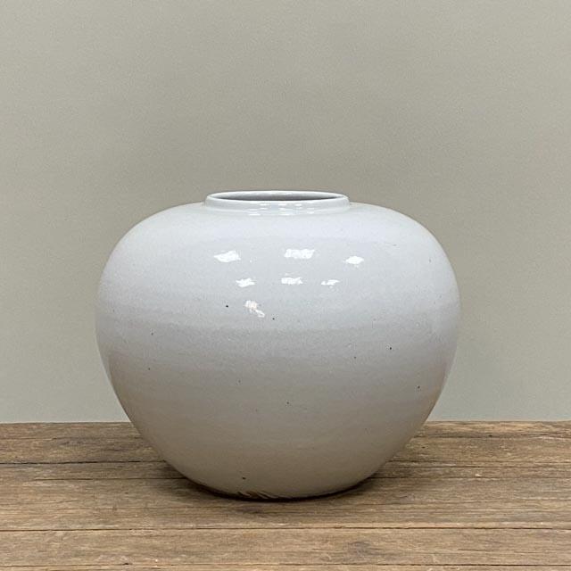 White glazed pot