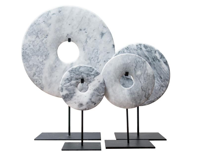 Bi disc in Light Grey-marble – 30cm