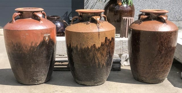 Large brown wine jars