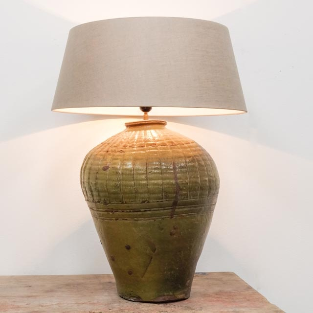 Extra large olive green storage pot as lamp