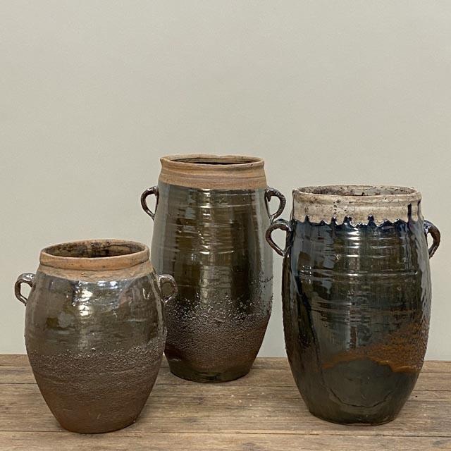 Tall storage pots with unglazed rim