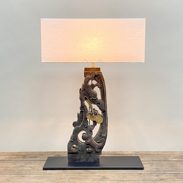 Wooden architectural element table lamp