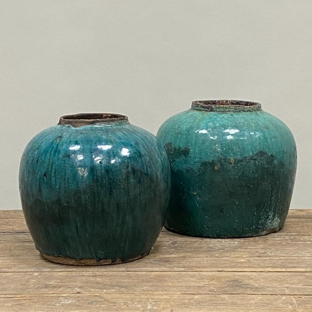 Large antique turquoise ginger pot