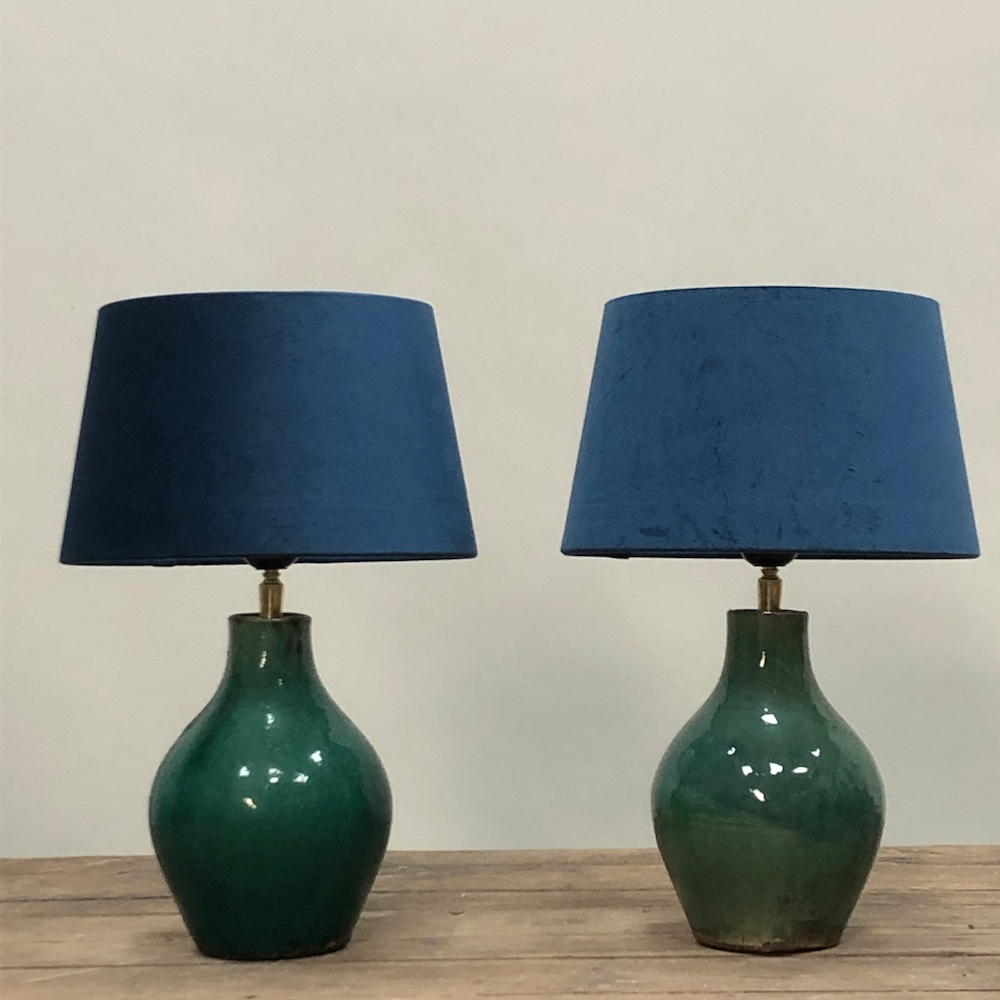 Small turquoise green ceramic table lamp