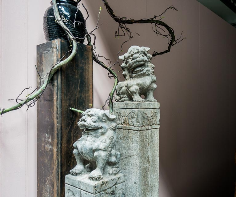 1.4M stone lion hitching post with antiquated finish
