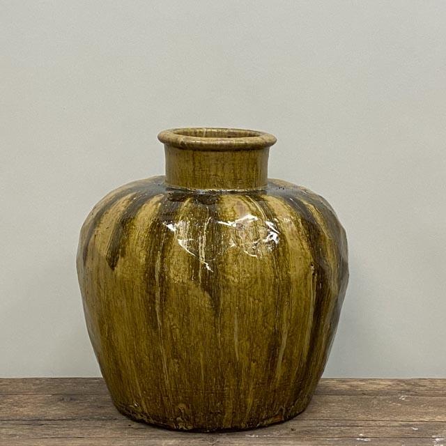 Heavy yellow glazed pot
