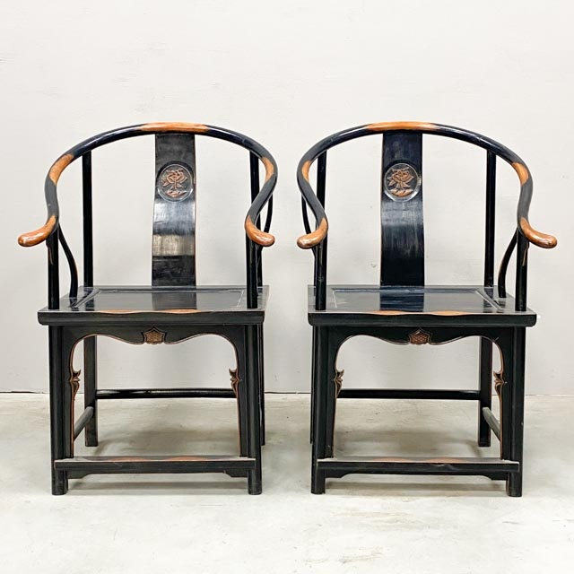 Pair of horse shoe chairs