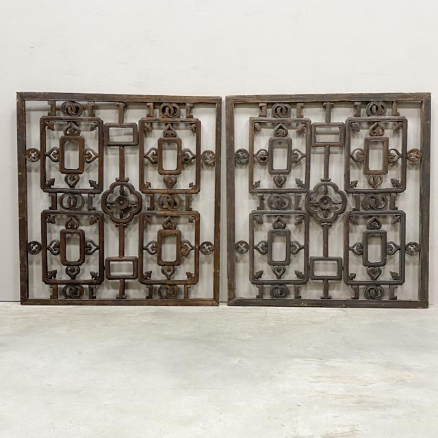 Pair of old wooden window panels/screens.