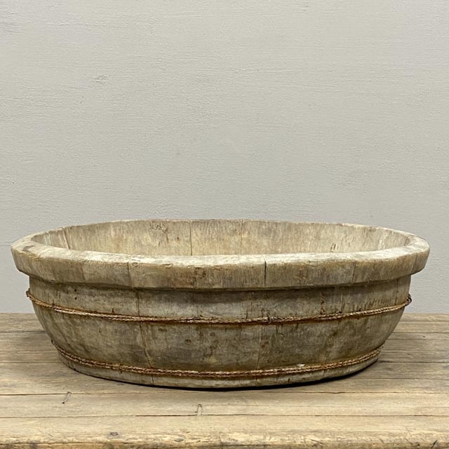 Antique Chinese round wooden basin