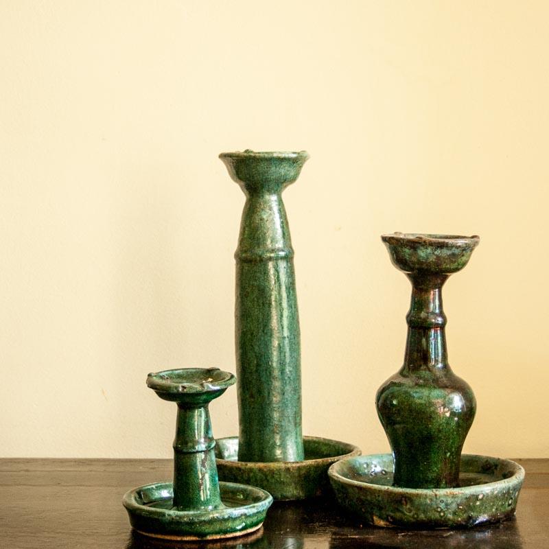 Chinese keramiek turquoise kandelaars in verschillende maten in verweerde staat