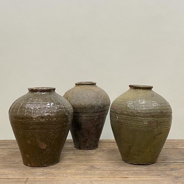 Medium olive green storage jars