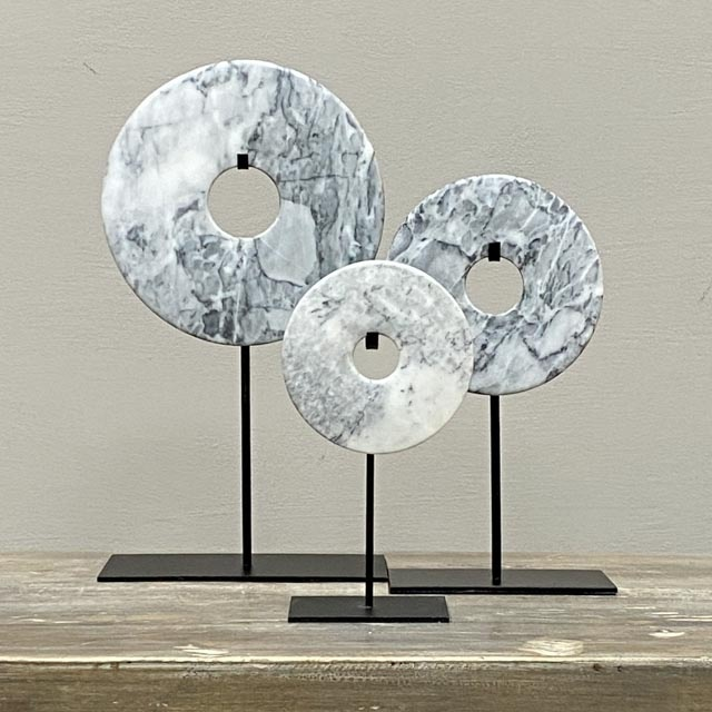 Bi disc in Light Grey-marble – 12cm