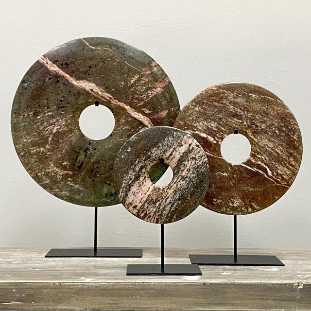 Bi disc in Olive green-Brown – Pink – 40cm